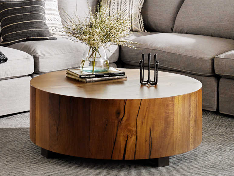 four hands wesson natural yukas resin bronzed iron 40 wide round coffee table