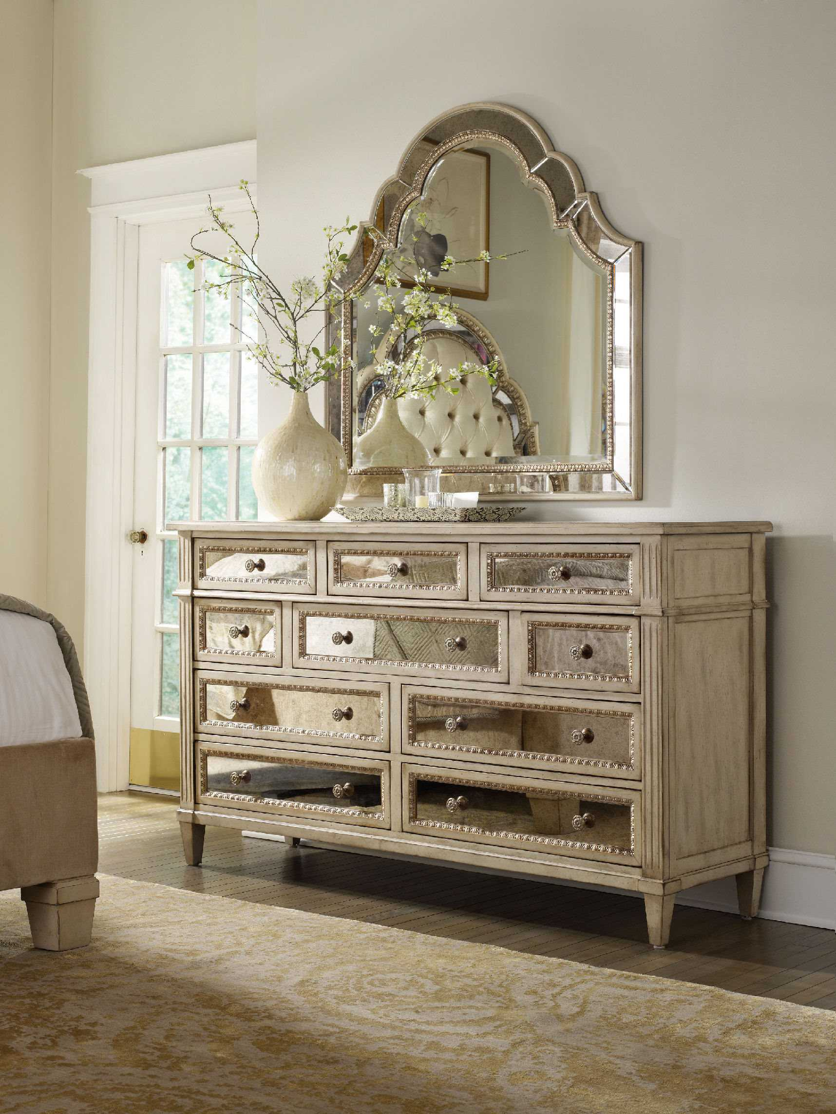 Hooker Furniture Sanctuary Pearl Essence Triple Dresser Amp Mirror Set HOO302390002SET