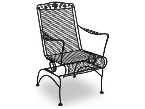 meadowcraft dogwood wrought iron coil spring dining arm chair