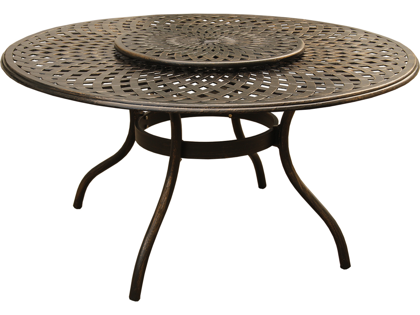 oakland living mesh modern aluminum bronze 59 wide round dining table with lazy susan