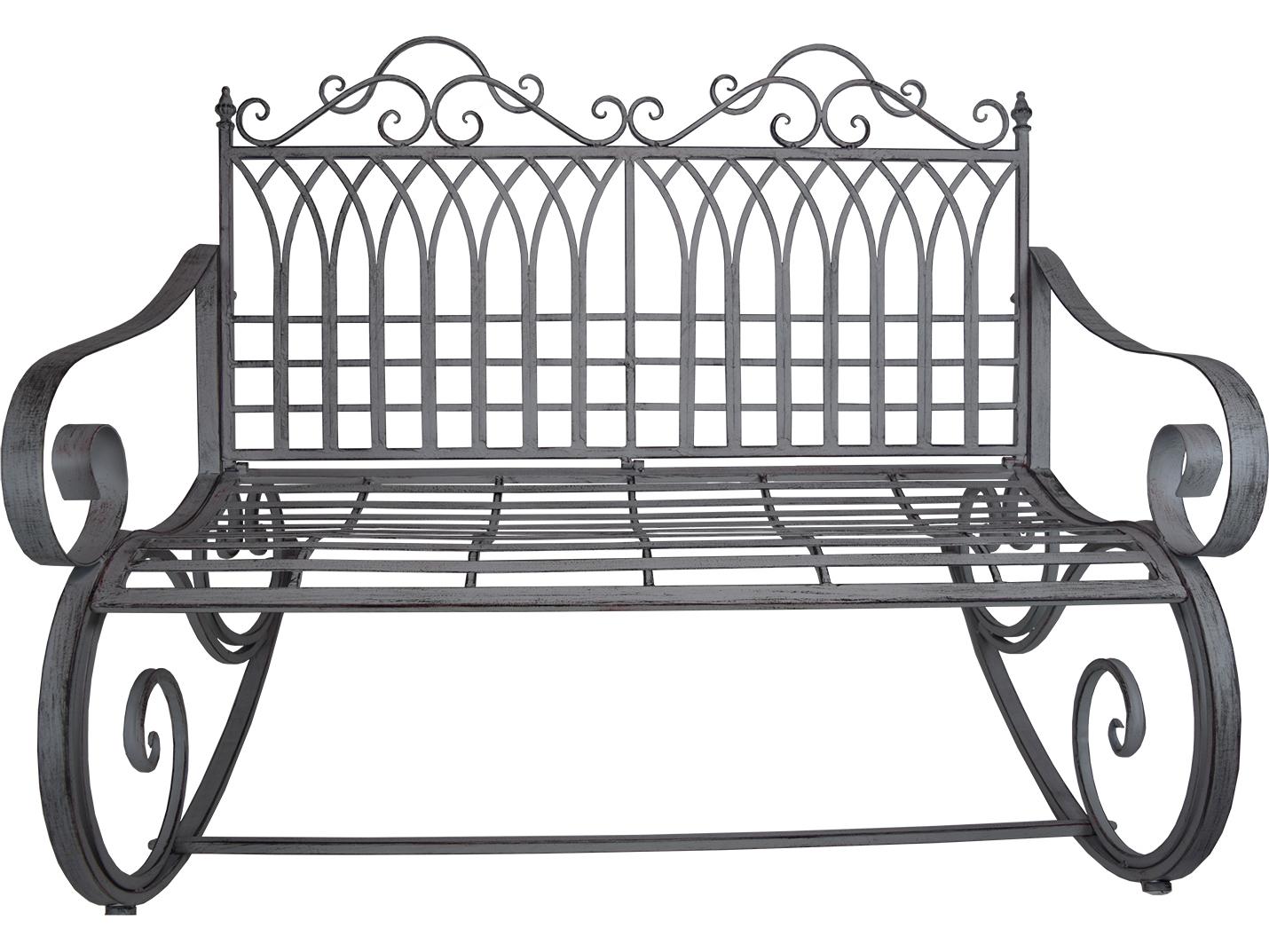 Oakland Living Ornate Antique Grey Steel Iron Porch Garden