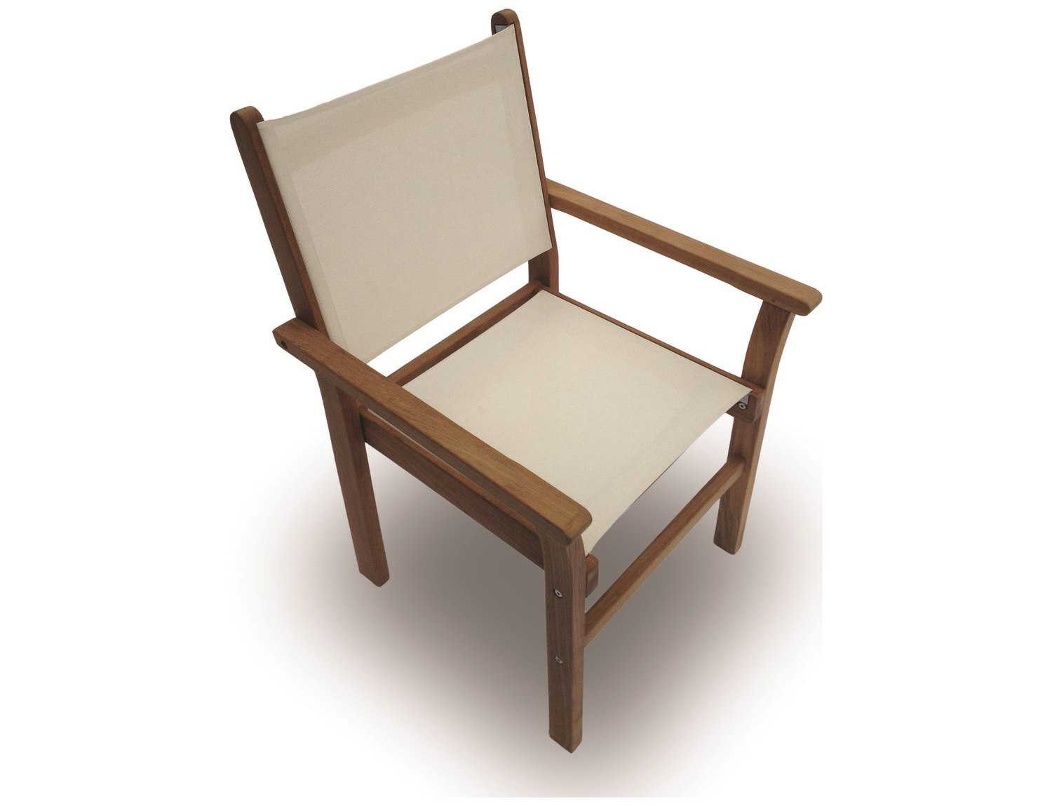 Royal Teak Collection Captiva White Sling Stackable Dining Arm Chair