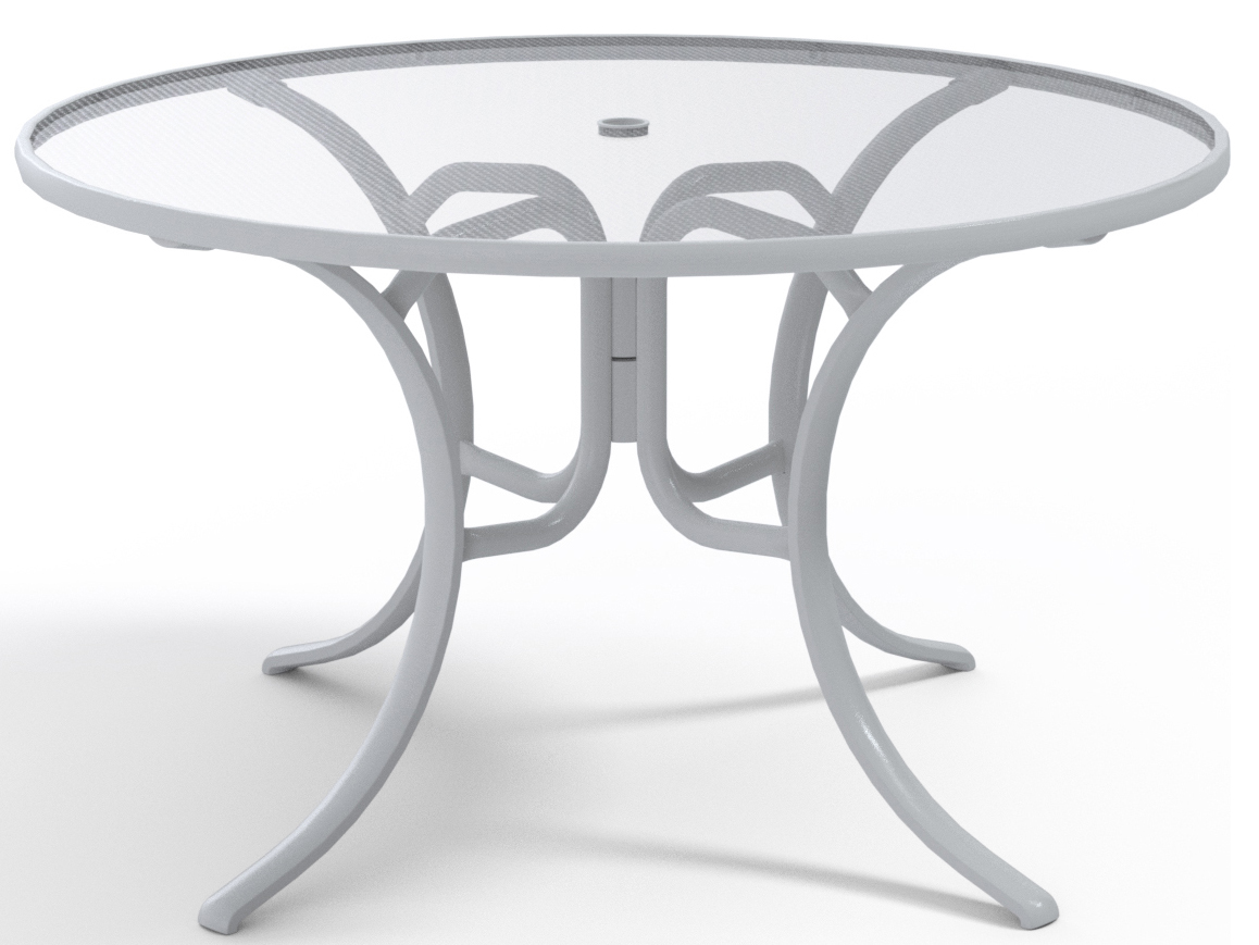 telescope casual glass top aluminum 48 wide round dining table with umbrella hole