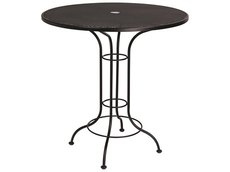 woodard aurora wrought iron 42 wide round mesh top bar height table with umbrella hole