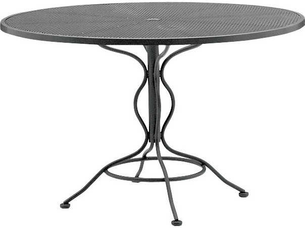 woodard wrought iron mesh 48 wide round dining table with umbrella hole