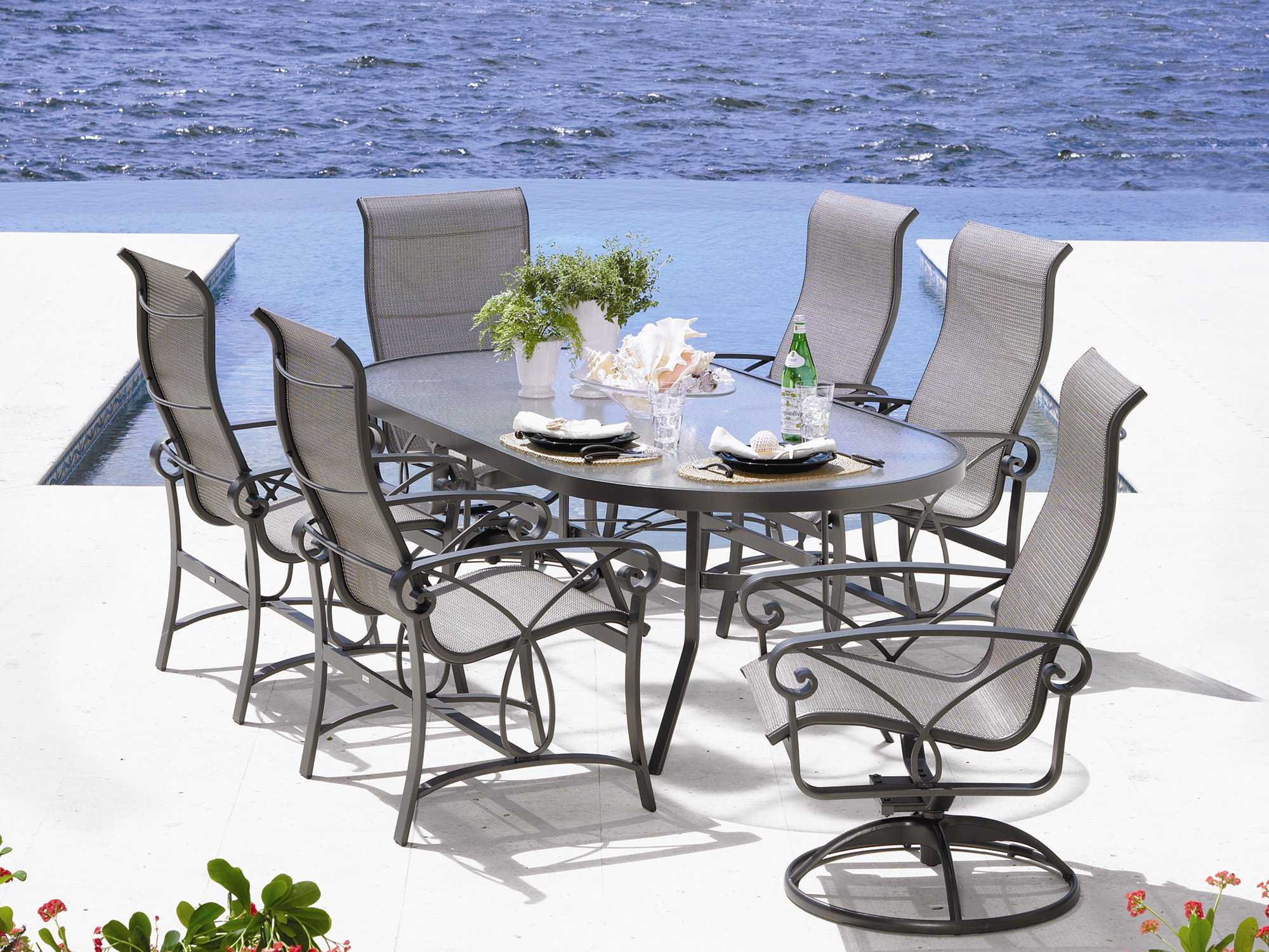 winston palazzo sling cast aluminum dining set