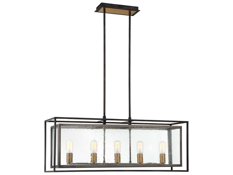 Eurofase Lighting Affilato Black 5 Light 36 Wide Glass