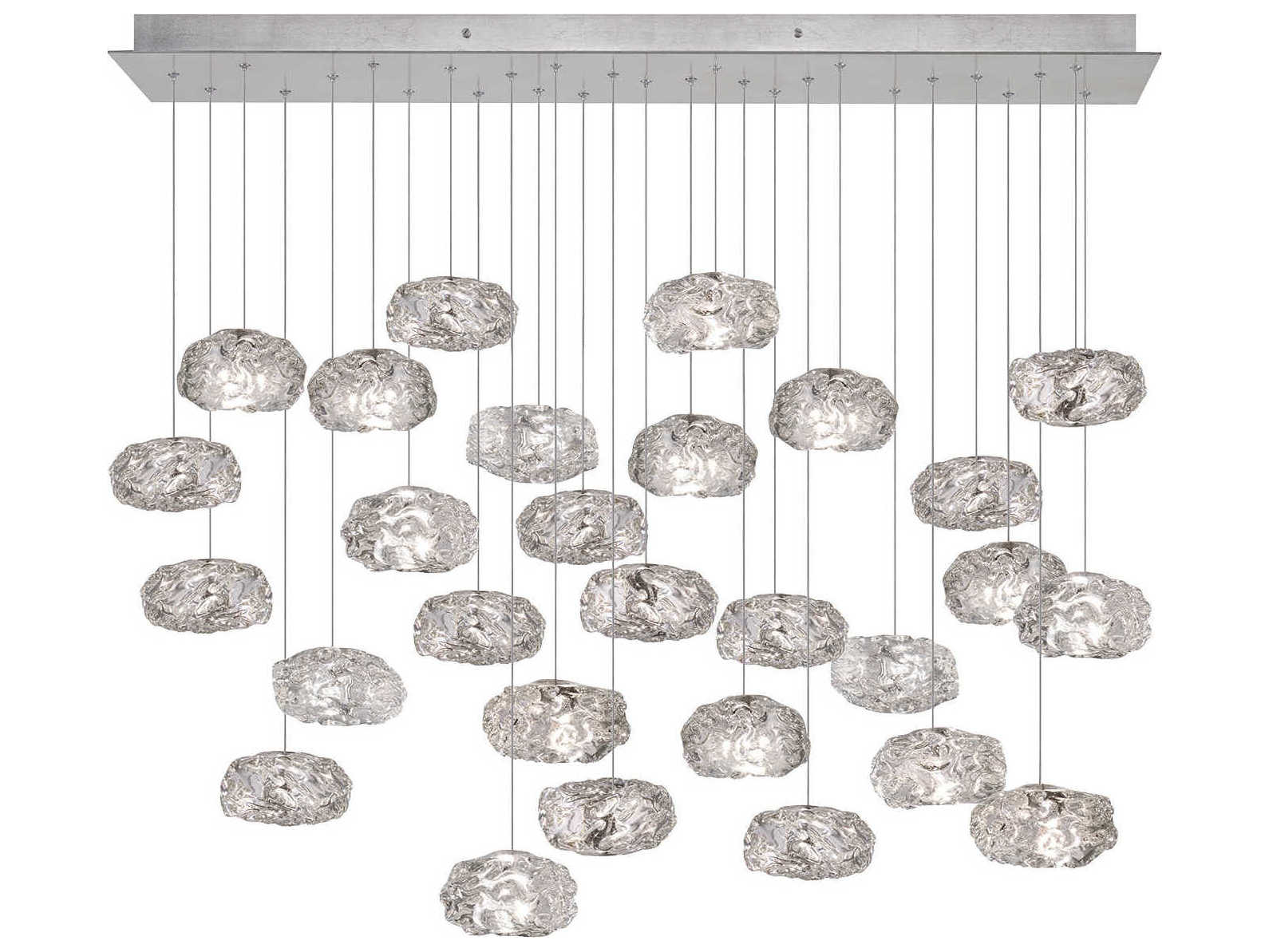 Fine Art Lamps Natural Inspirations Led Silver 54 Wide Glass Led Island Light