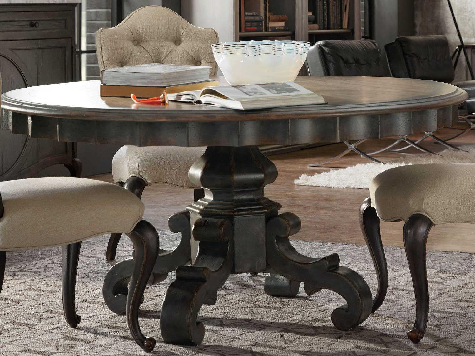 Hooker Furniture Arabella Warm Wood Gray 60 Wide Round Pedestal Dining Table Hoo161075201gry