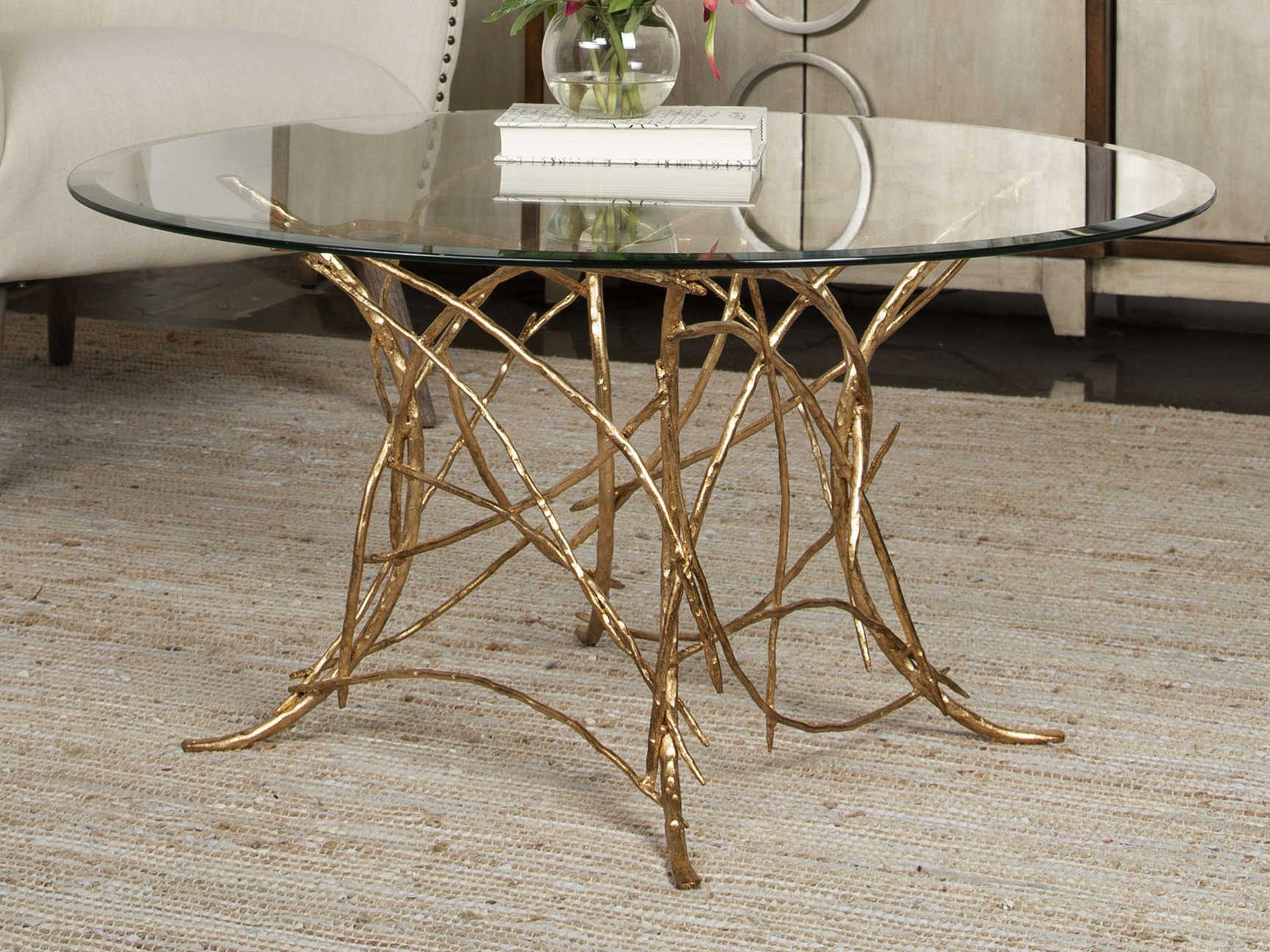 uttermost amoret beveled glass gold leaf 36 wide round coffee table
