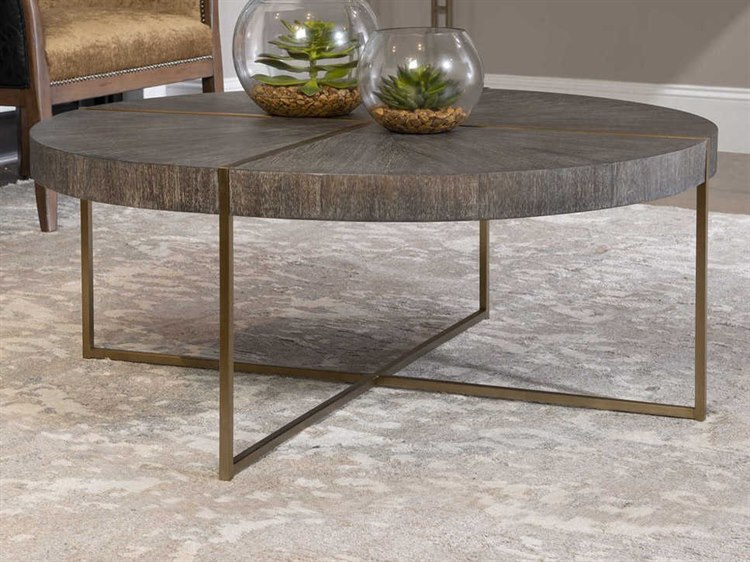uttermost taja light gray brushed brass 42 wide round coffee table