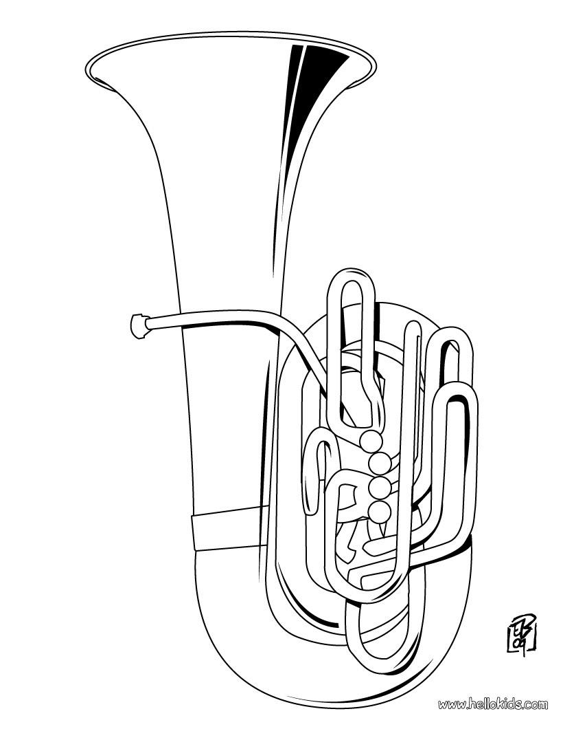 musikinstrument zum ausmalen tuba zum ausmalen