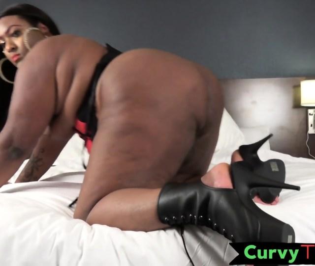 Ebony Ssbbw Jerks Her Cock Before Cumming Scene 4
