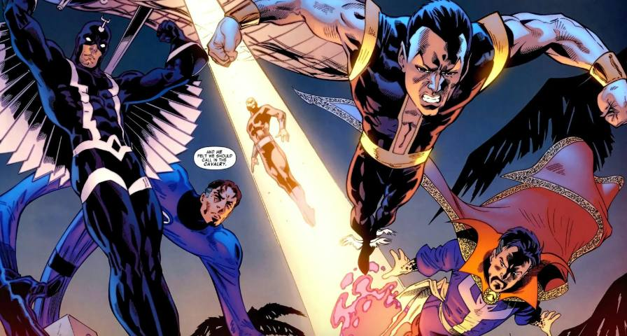 The Illuminati soars through the air in Iron Man: Legacy Vol.  1 # 10