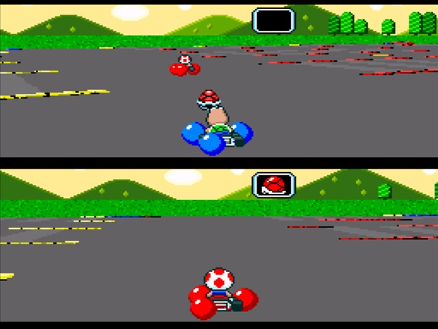 Super Mario Karts battle mode with Koopa Troopa above and Toad below.