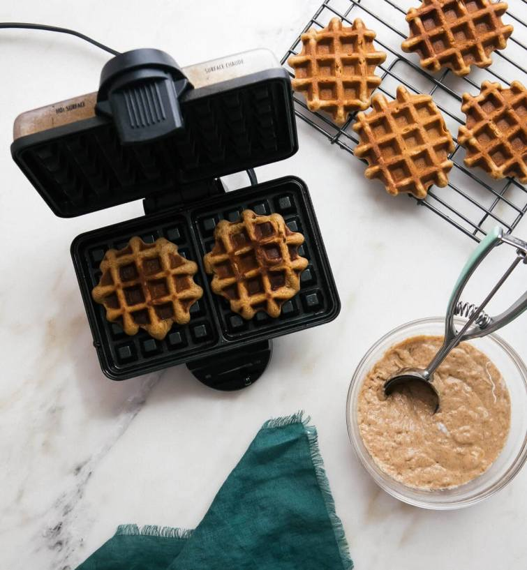 pumpkin waffles in maker