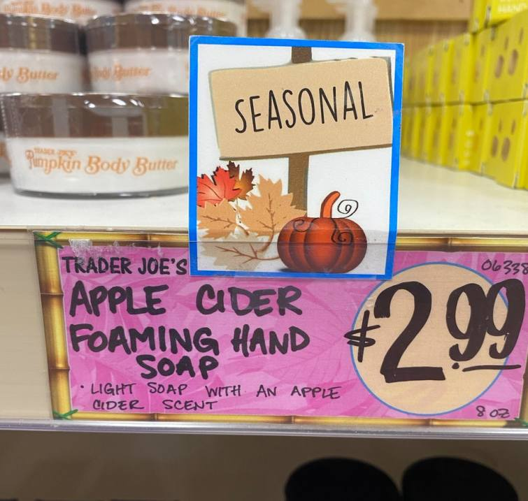 An image of jars of apple cider hand wash with a price tag reading $3.