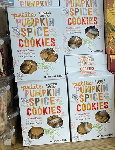 An image of a few boxes of petite pumpkin spice cookies.