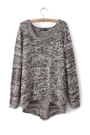 Fashion Back Hole Knit Sweater