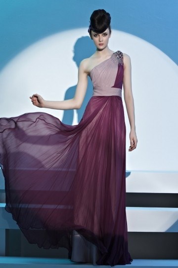 purple and grey long formal dress