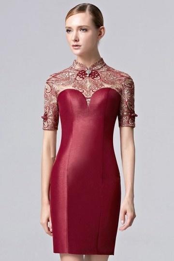 Sexy 2016 Etui-Linie Kurz Rot Abendkleid mit Stehkragen Persun