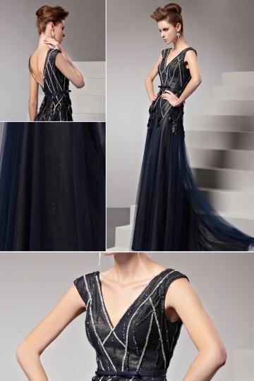 Robe de soirée longue bleue noire