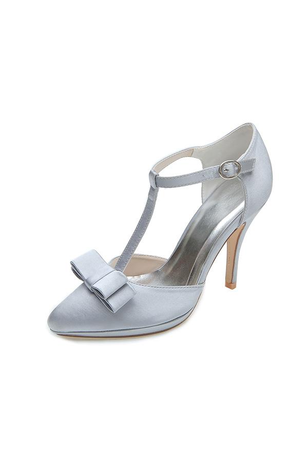 Sandales mariage style salomé argenté bout fermé