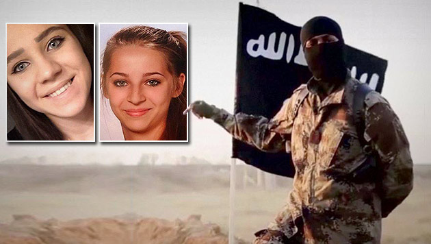 14 Mädchen zogen aus Österreich in den Dschihad (Bild: twitter.com, Interpol)