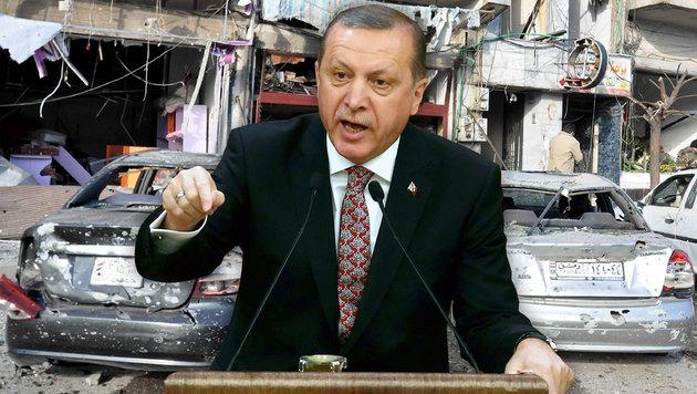 Erdogan droht jetzt mit Eingreifen in Syrien-Krieg (Bild: APA/AFP/ADEM ALTAN, APA/AFP/SANA/STRINGER)