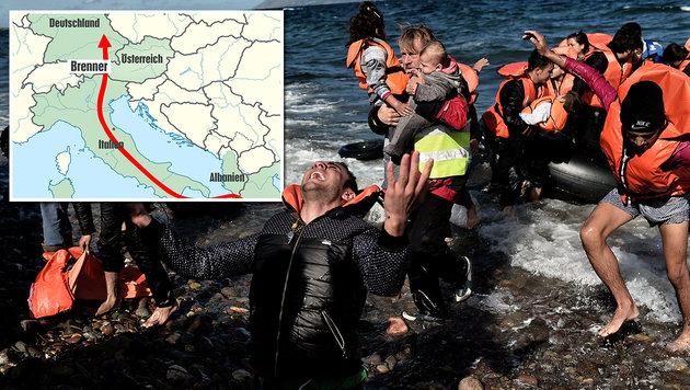 Albaniens Mafia lotst Flüchtlinge nun über Adria (Bild: AFP/ARIS MESSINIS, Krone-Grafik)