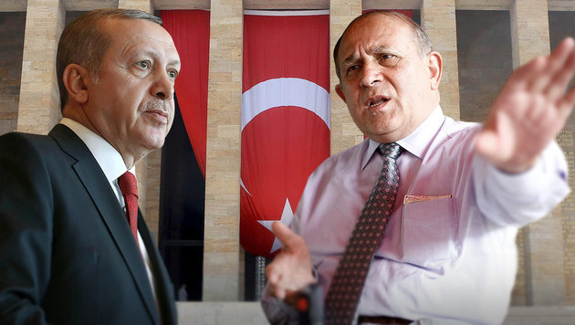 "Erdogans Chefberater Burhan Kuzu (re.) beschimpft Kanzler Kern als ""Ungläubigen"". (Bild: APA/AFP/ADEM ALTAN, APA/AFP/TURKISH PRES. PRESS KAYHAN OZER)"