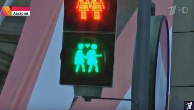Auch Wiens gleichgeschlechtliche Ampelpärchen waren Teil der russischen Berichterstattung. (Bild: Screenshot/YouTube.com)