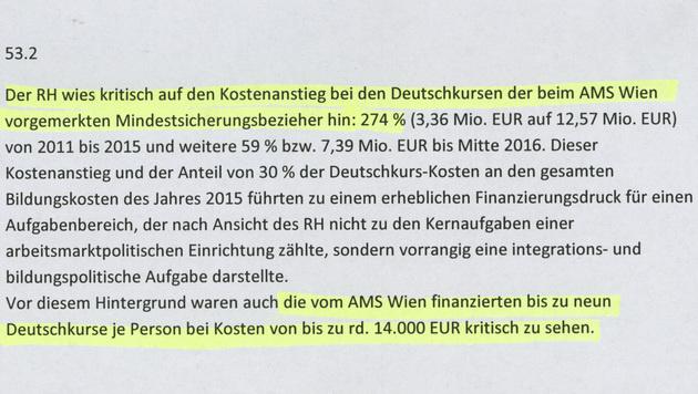 Die Kritik des Rechnungshofs im Wortlaut (Bild: Screenshot/RH)