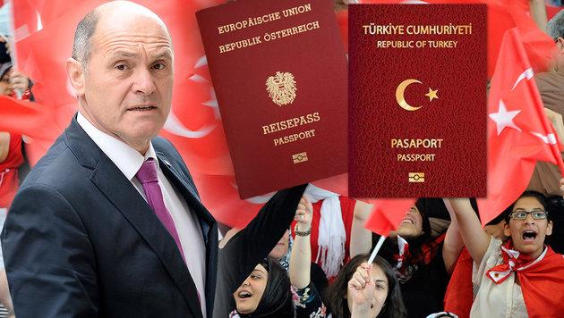 Zweitpass zurück! Türken stürmen nun die Konsulate (Bild: APA/Roland Schlager, APA/Hans Punz, Karl Schöndorfer)