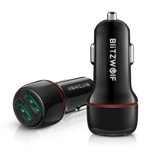 Στα €4.90 από αποθήκη Τσεχίας | BlitzWolf® BW-SD5 18W Dual QC3.0 USB Car Charger Fast Charging For iPhone 12 12 Mini 12 Pro Max For Samsung Galaxy Note 20 Xiaomi Mi10