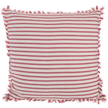 red cream ticking striped pillow