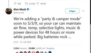 Elon Musk Tweet zum Tesla mit Camping-Modus