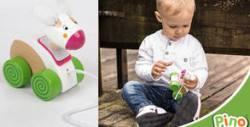 Дървена играчка Зайче - за дърпане и бутане
