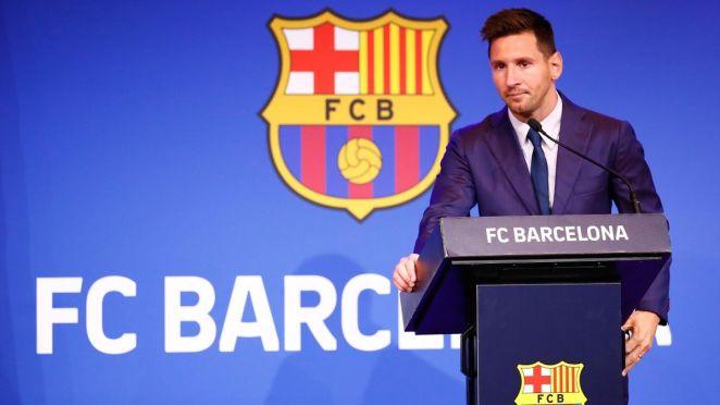 Lionel Messi pendant sa conférence de presse d'adieu au Barça