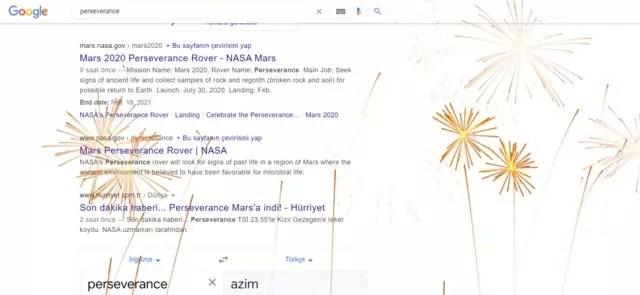 Google Perseverance sayfası