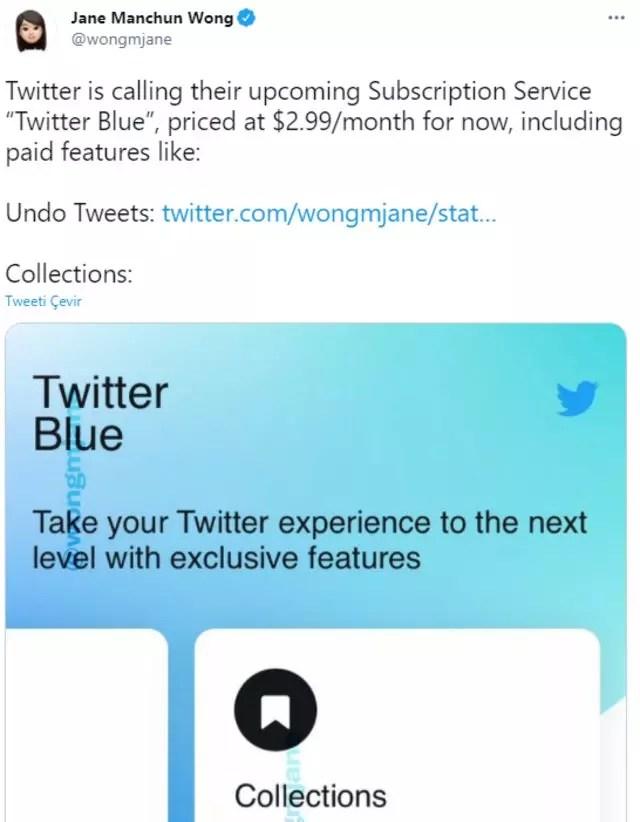 Twitter Blue tweet