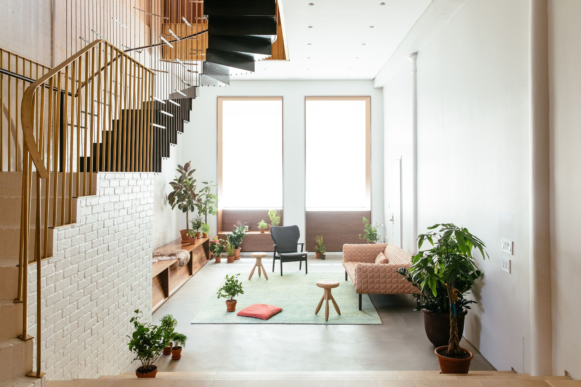 In Tribeca S Raft Loft A Hanging Architectural Staircase Joins   Second Floor Stairs Design   Tree Trunk   Elegant   3Rd Floor   Creative   Tight Space