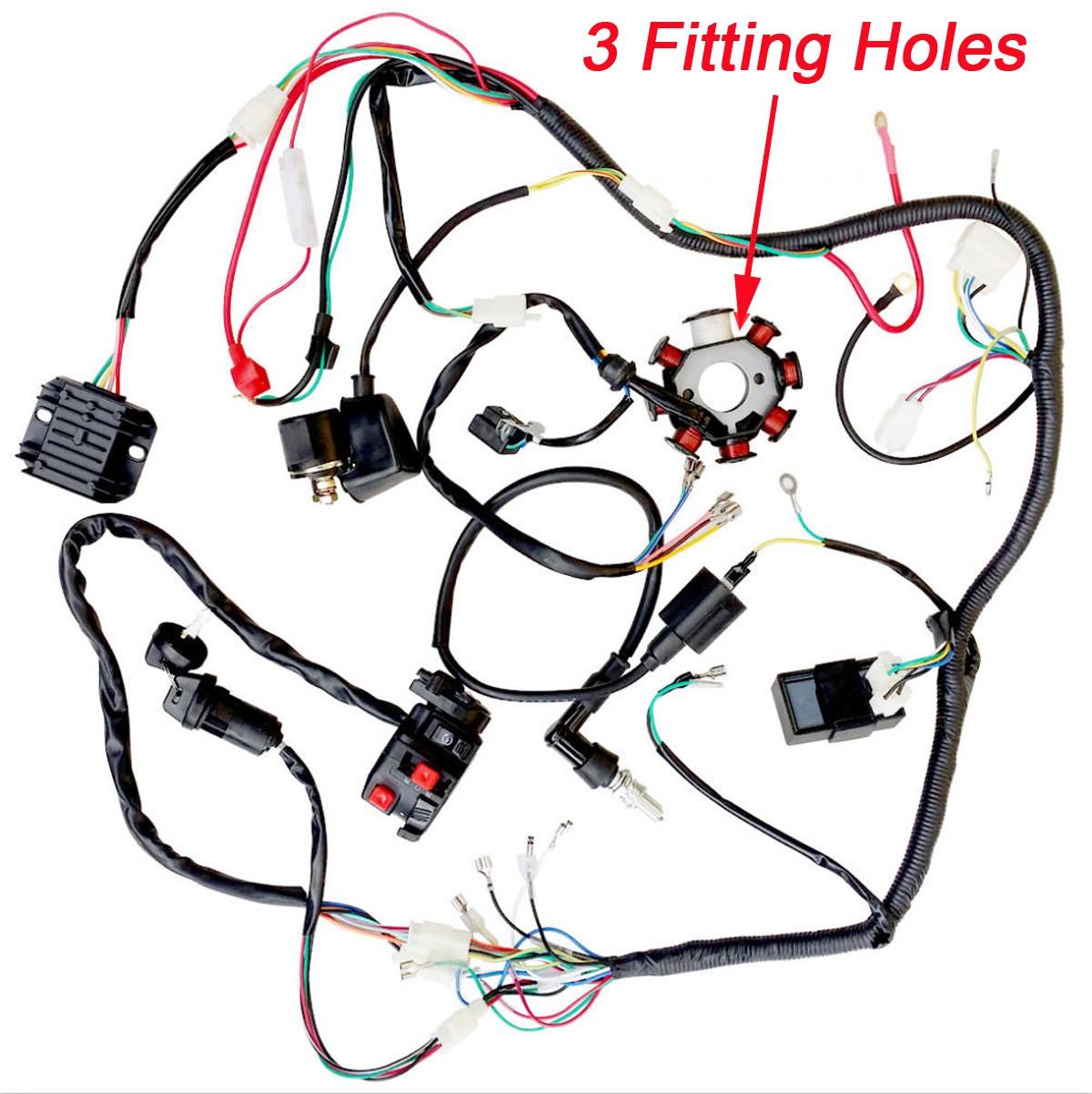 Plete electrics atv quad 200cc 250cc cdi wire harness zongshen lifan 3 holes