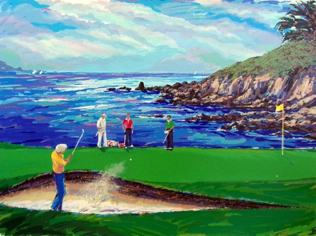 Steve Bloom  18th At Pebble Beach  golf Hand Signed Numbered Art     Buyer will pay actual shipping cost