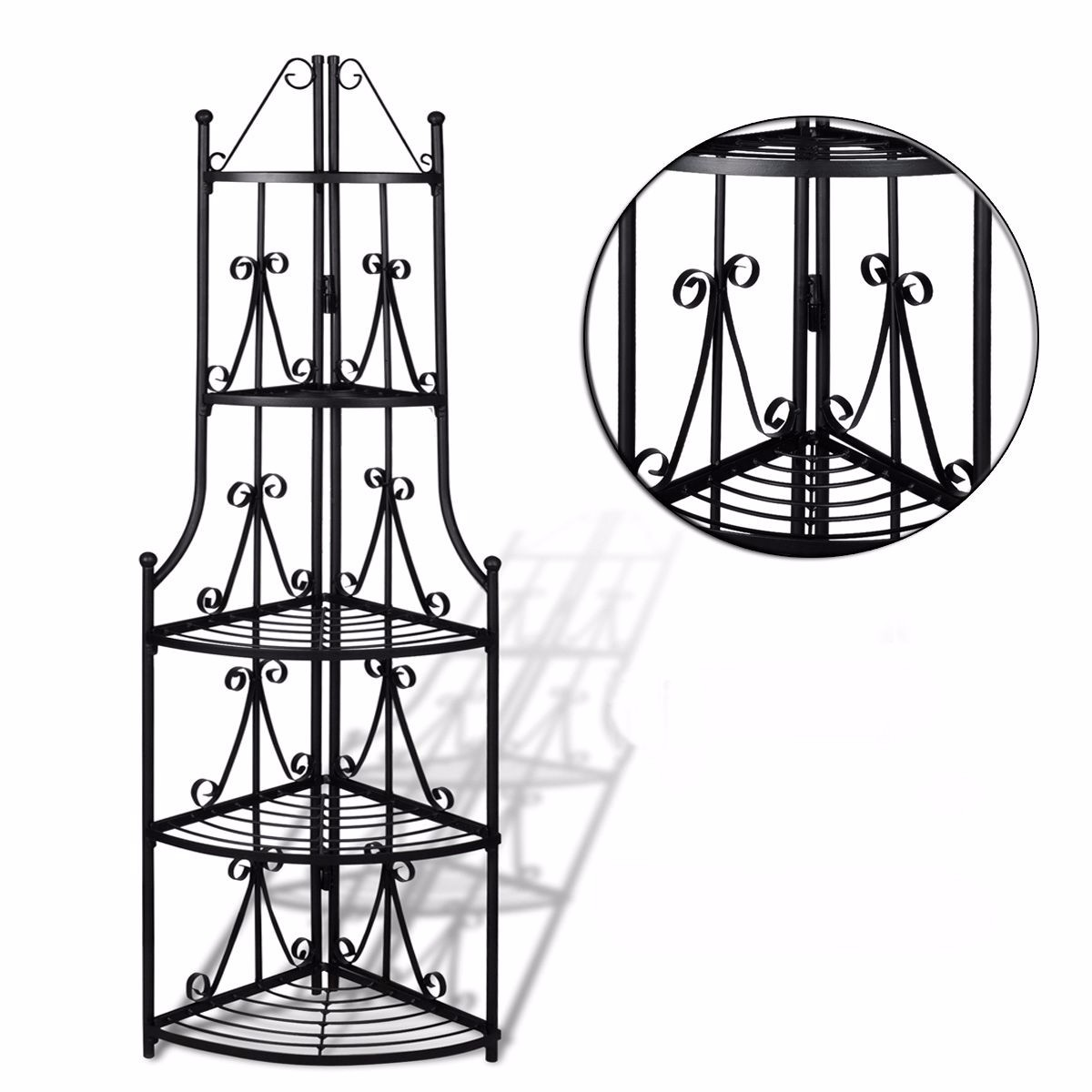 5 Tier Metal Corner Plant Stand Flower Display Shelf