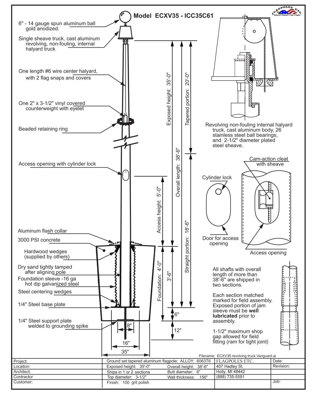 35 Ft Aluminum Flagpole 35 X 6 X 156 Internal