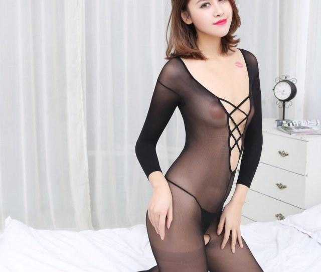 Black Half Sleeve Lingerie Clothes Sex Transparent Garter Stockings Pantyhose
