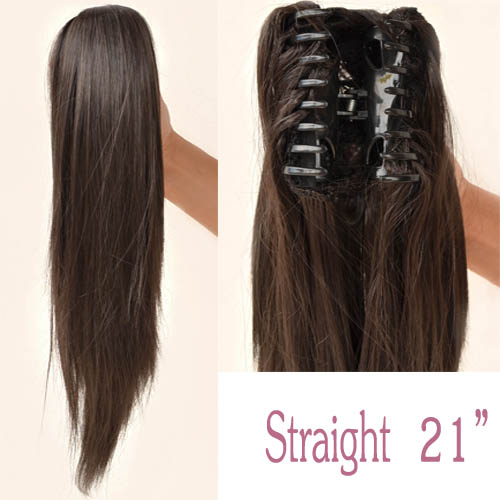 21 24 26 Full Head Clip In Hair Extensions Ponytail