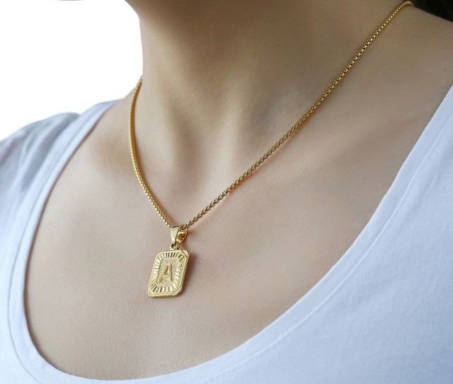 Initial A Z Letter Pendant Necklace For Mens Womens Chain Gold