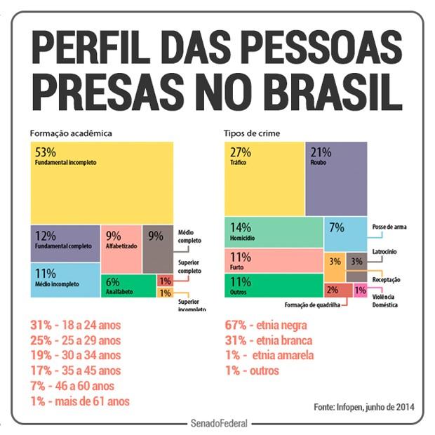 Resultado de imagem para perfil das pessoas presas no brasil